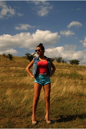 sky blue shorts - shorts