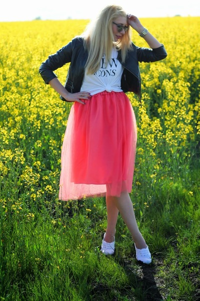 handmade skirt - biker New Yorker jacket - white H&M t-shirt
