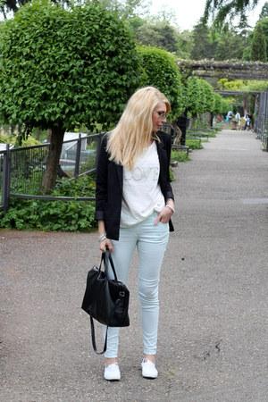 black H&M blazer - black Zara bag - mint H&M pants - white Vero Moda blouse
