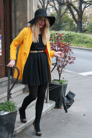 black H&ampM dress - yellow Sheinsidecom coat - black H&ampM hat