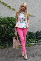 peplum H&M blouse - Mango bag - pink H&M pants - beige Mango wedges