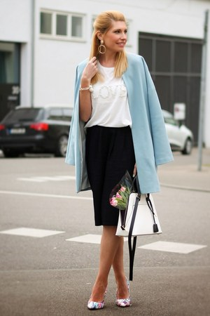 white Zara bag - sky blue oversized Primark coat - white Vero Moda blouse