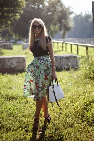 green OASAP skirt - white Zara bag - black H&M t-shirt - black Zara sandals