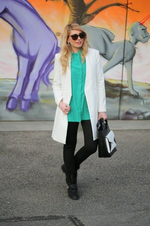 green Mango shirt - white Zara coat - snakeskin Zara leggings