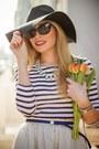 Black-h-m-hat-white-h-m-skirt-striped-new-yorker-blouse