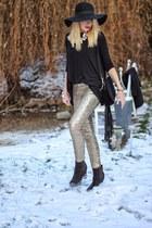black studded H&M boots - black fringed H&M bag - gold sequined H&M pants