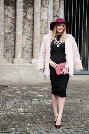 black OASAP dress - light pink faux fur OASAP coat - ruby red fedora OASAP hat