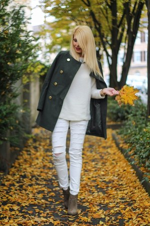 white ripped Pimkie jeans - army green Mango boots - army green Mango coat