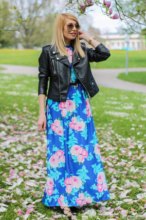 floral H&M hair accessory - blue romwe dress - black biker Primark jacket