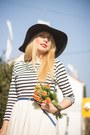 Black-h-m-hat-white-h-m-skirt-striped-new-yorker-blouse
