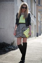 neon H&M purse - black Zara boots - biker New Yorker jacket - neon Mango blouse