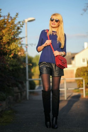 black Zara boots - blue Mango sweater - ruby red Mango bag
