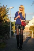 black Zara boots - blue Mango sweater - ruby red Mango bag