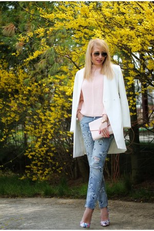 sky blue OASAP jeans - white Zara coat - light pink OASAP sweater