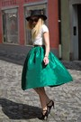 Black-h-m-hat-emerald-green-choies-skirt-black-zara-sandals