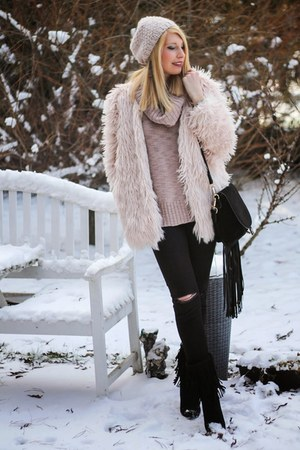 black fringed boots - light pink faux fur OASAP coat - black ripped Zara jeans