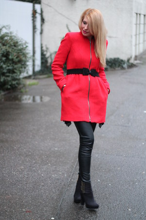 red Zara coat - black studded H&M boots - black leather H&M pants