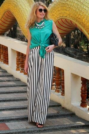 black H&M bag - green Mango shirt - striped Zara pants - OASAP necklace