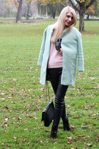 mint Sheinsidecom coat - pink H&M sweater - black Zara bag