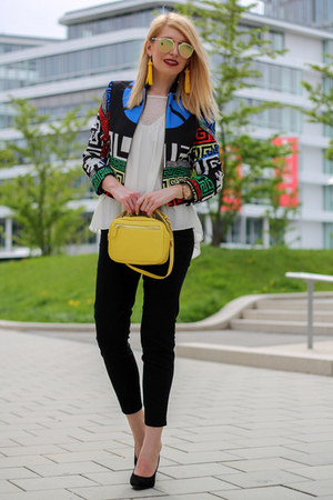 shein jacket - yellow Zara bag - mirrored DressLink sunglasses