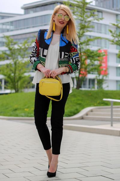 shein jacket - yellow Zara bag - mirrored DressLink sunglasses