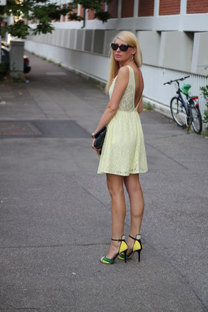 black H&M bag - yellow New Yorker dress - black H&M sunglasses
