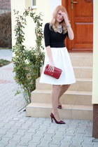 burgundy Zara heels - Zara necklace - white H&M skirt - black New Yorker blouse