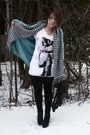 Turquoise-blue-forever-21-sweater-white-h-m-shirt-black-random-brand-shoes-