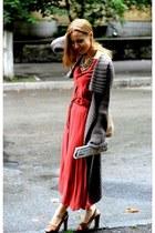 ruby red Zara dress - Annies corner shop necklace