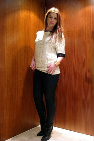 ivory sequin thrifted vintage blouse - black Givenchy boots - black Zara pants