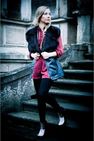 maroon asos romper - black leopard asos boots - black faux leather vintage vest