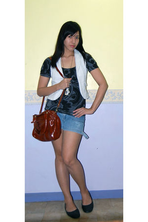 black H&M blouse - white Folded and Hung vest - blue shorts - brown australian a