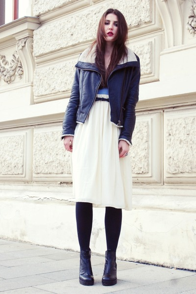 leather jacket Mango jacket - vagabond boots - bluewhite Motel Rocks dress