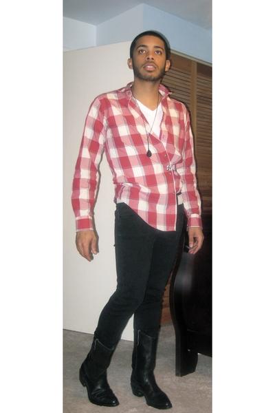 vintage shirt - H&M jeans - vintage boots - H&M necklace - Levis belt - American