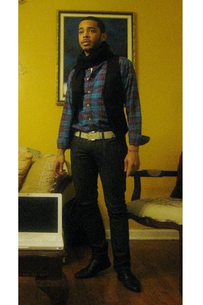 vintage shirt - H&M vest - Levis Vintage Collection belt - Levis jeans - vintage