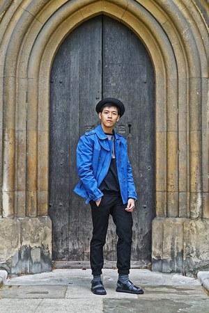 black human hat - blue trench Zara coat - gray Uniqlo socks