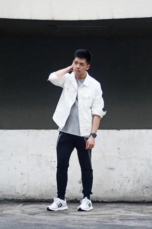 white denim Forever 21 jacket - heather gray ribbed River Island shirt