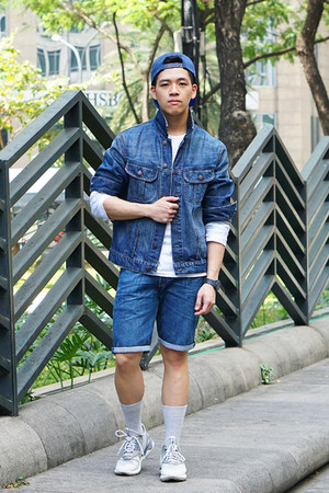 blue denim H&M jacket - blue Zara hat - white long sleeve Zara shirt