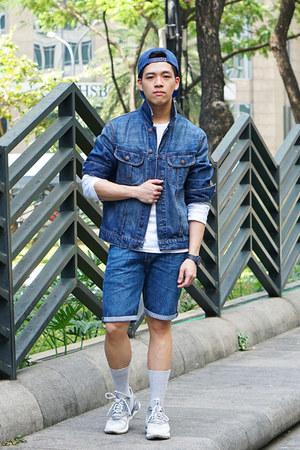 blue denim H&M jacket - blue Zara hat - white long sleeve Zara shirt