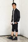 Black-satin-pilot-h-m-jacket-white-desigual-shirt