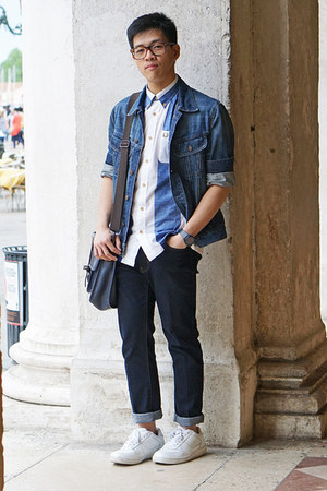 blue denim H&M jacket - navy Uniqlo jeans - blue stripe Fred Perry shirt