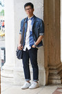 Navy-uniqlo-jeans-blue-denim-h-m-jacket-blue-stripe-fred-perry-shirt
