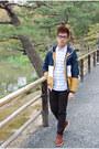 Brown-cole-haan-shoes-gold-bershka-jacket-white-uniqlo-shirt