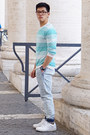 Sky-blue-pull-bear-jeans-turquoise-blue-cotton-mango-sweater
