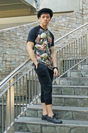 black bowler hat human hat - black floral Topman t-shirt