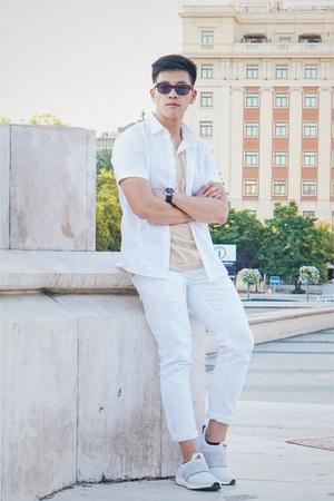 white stretch skinny Topman jeans - white Topman shirt