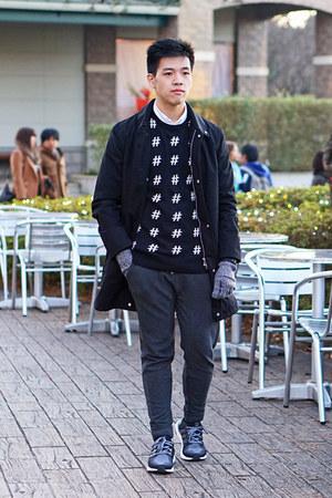 black Uniqlo coat - black hashtag H&M sweater - white short sleeve Topman shirt