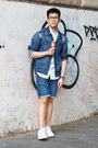 Navy-denim-h-m-jacket-light-blue-ice-cream-bershka-shirt