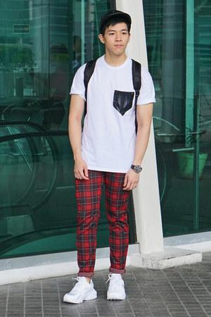 white Topman t-shirt - black Topman hat - ruby red plaid checked Zara pants