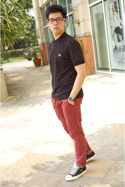 black Fred Perry shirt - maroon Topman pants - black Comme des Garcons sneakers